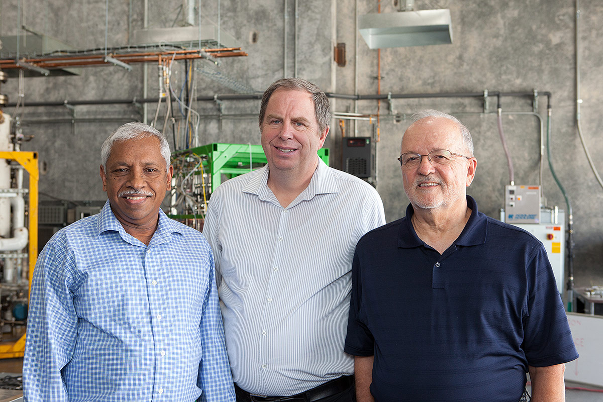 OxEon Energy's three founders: Lyman, Joe, and Elango.