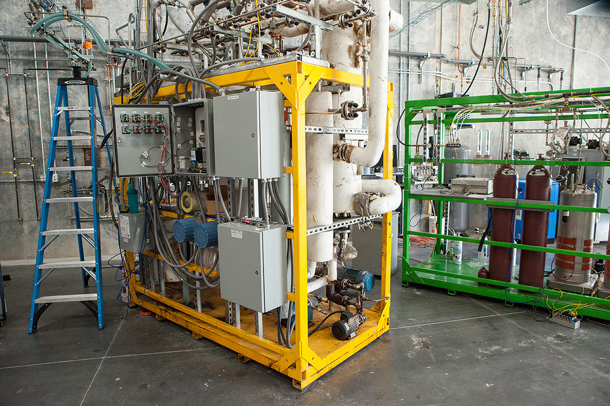 OxEon Energy's Fischer Tropsch (FT) Reactor skid (Yellow) and Product Collection skid (Green)