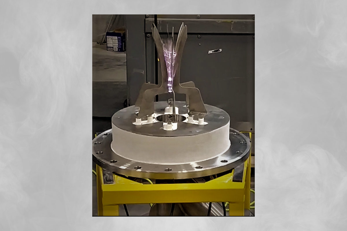 OxEon Energy's plasma reformer during its electrode arc test.