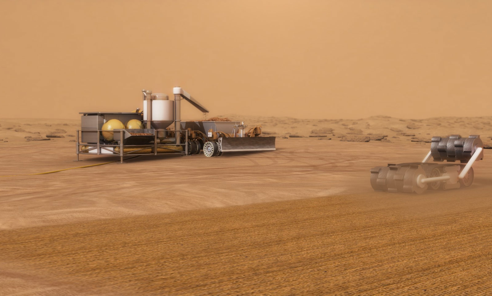 ISRU system concept for autonomous robotic excavation and processing of Mars soil to extract water for use in exploration missions.
