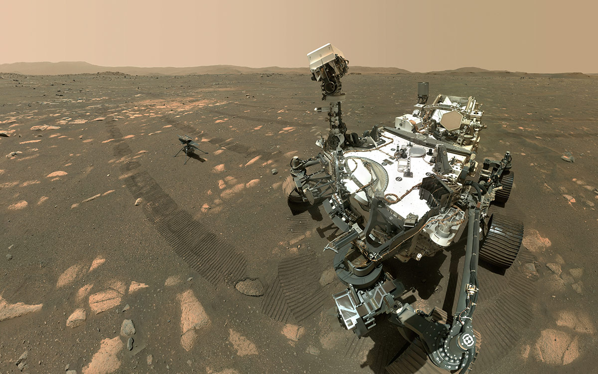NASA's Perseverance Mars rover took a selfie with the Ingenuity helicopter.